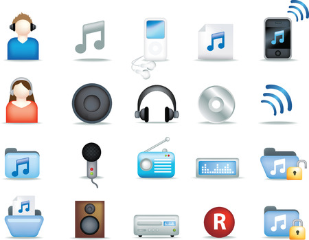A set of modern icon illustrations for the music and entertainment industry Vector