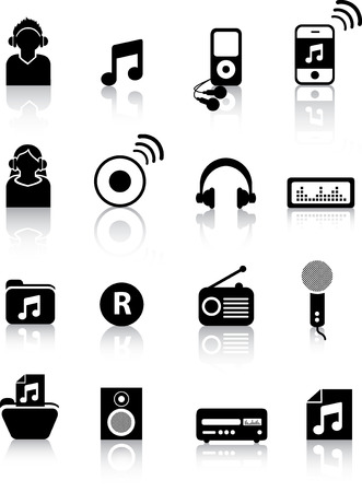 entertainment industry: A set of modern icon illustrations for the music and entertainment industry