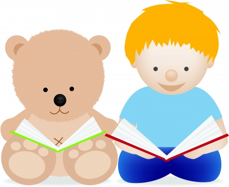picture book: Little boy toddler and teddy bear reading a book