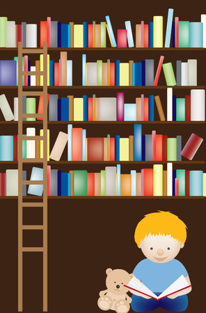 young schoolchild: Vector illustration of a young boy admist a see of library books Illustration