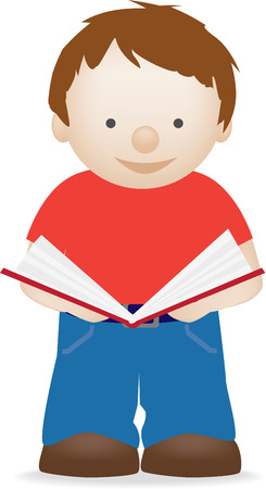 Vector illsutration of an isolated child reading a book