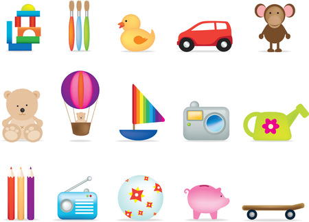 A set of 15 vector toy illustrations for under fives Vector