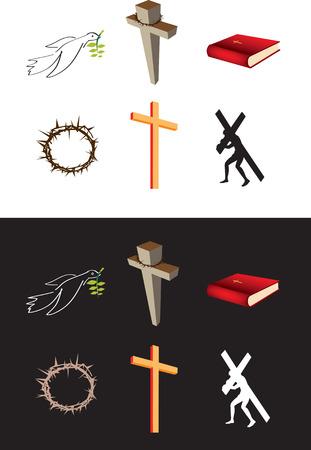 corona navidad: Un conjunto de 6 s�mbolos cristianos de vectores en blanco y negro