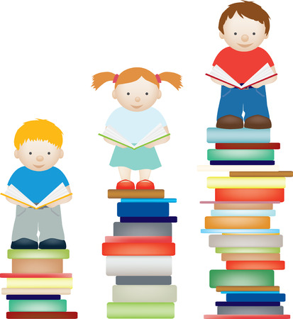 Un vecteur concept illustration des enfants par l'amélioration de la lecture Vecteurs