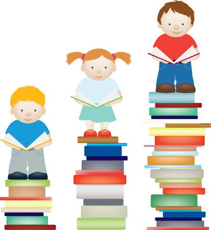 Un vector concepto ilustración de los niños por la mejora de la lectura Ilustración de vector
