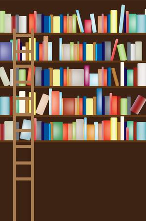 books on shelf: V ector illustration of a full library shelf