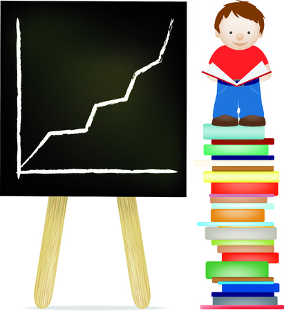 Little boy standing on a stack of books alongside a blackboard with his reading success on it Vector