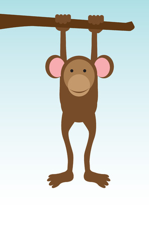 V ector illustration of a cute monkey smiling and hanging from a tree branch Vector
