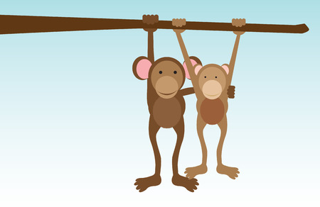 A vector concept illustration of monleys in love hanging from a tree Vector