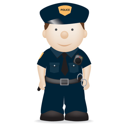 dress up: vector character illustration of an american police officer