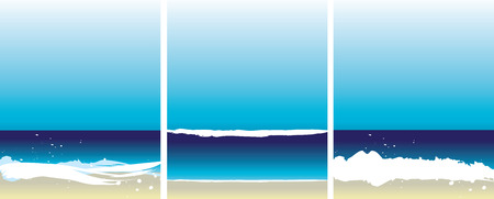 untouched: Set of 3 abstract vecot beach illustrations