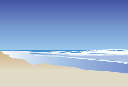 intocado: A vector illustration of a blue ocean and rolling waves