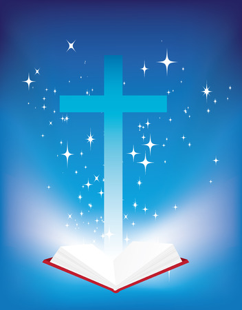 reading bible: vector illustration of a christian cross and light coming from the bible