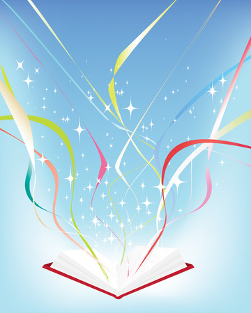 Vector illustration of an open book with a light source and stars and streamers Vector