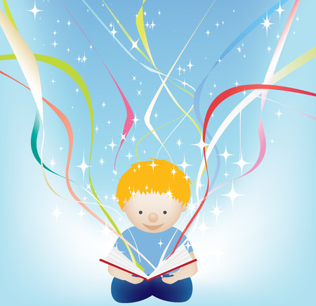 vector character illustration of a child reading a magic book Vector