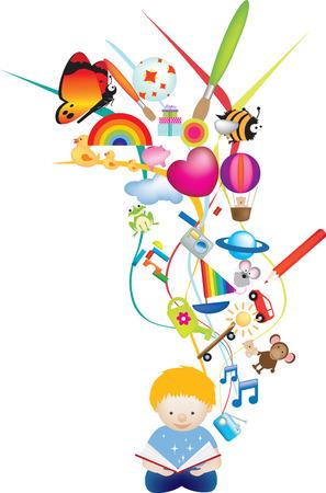 eltern und kind: Vector illustration Charakter eines Kindes Lesung ein magisches Buch isoliert Illustration