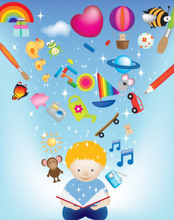 vector character illustration of a child reading a magic book exploding with images Vector