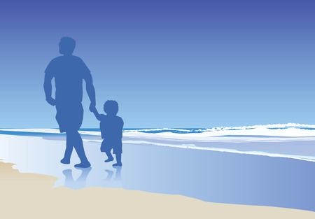 A vector illustration of a dad and his child walking on the beach Stock Vector - 4651597