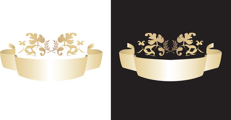 A vector illustration of a gold scroll with florals Vector