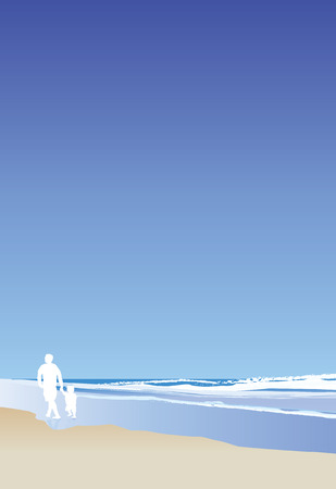 A vector illustration of a dad and his child walking on the beach, portrait Stock Vector - 4651594