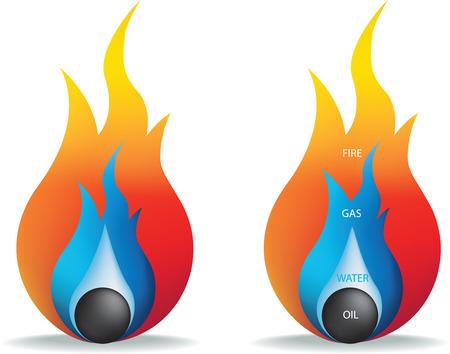 gas flame: illustrazione vettoriale di incendio, gas, petrolio e acqua Vettoriali