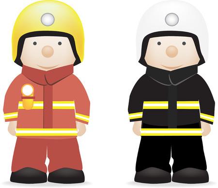uniformes de oficina: car�cter de ilustraci�n vectorial de un bombero (brit�nico y americano)