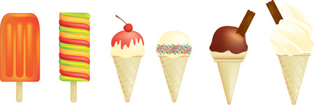 Vector illustration of a set of ice creams and lolly Vector