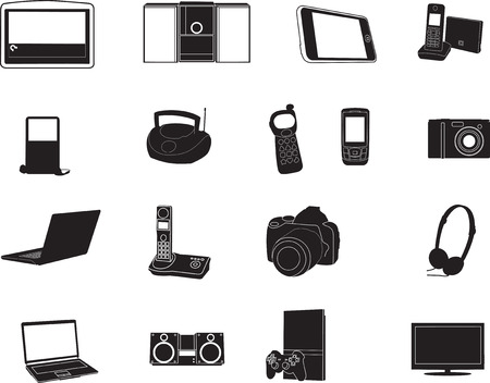 A vector illustration set of modern electronic objects Vector