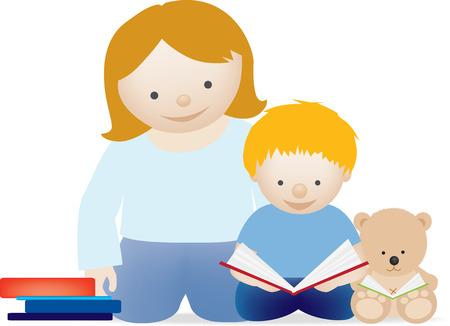 mums: Una ilustraci�n vectorial de una madre y su ni�o leyendo un libro