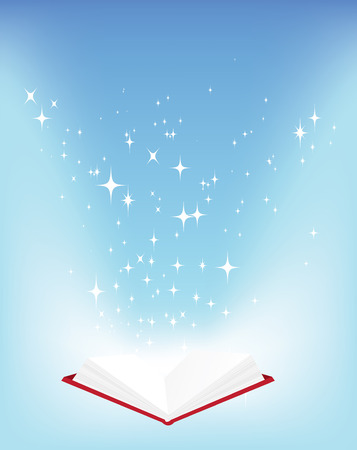 Magic open book vector illustration with stars Vector