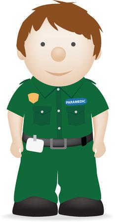 vector illustratie van het karakter van een glimlachende paramedicus  Vector Illustratie