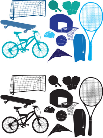 raquet: Set of vector silhouettes of sporting objects