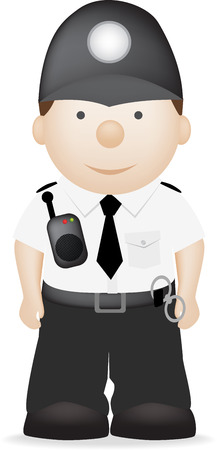 Een vector illustratie van een Britse politieagent in uniform