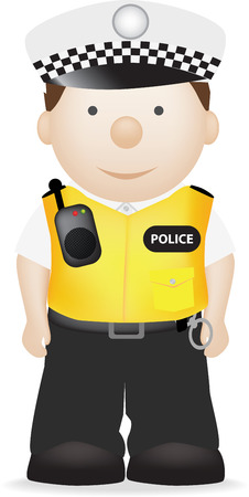A vector illustration of a british policeman in uniform