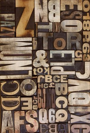 letterpress letters: letterpress wooden blocks viewed from above flat on Stock Photo