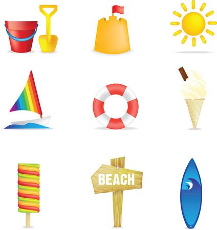 Set of 9 3d beach images Vector