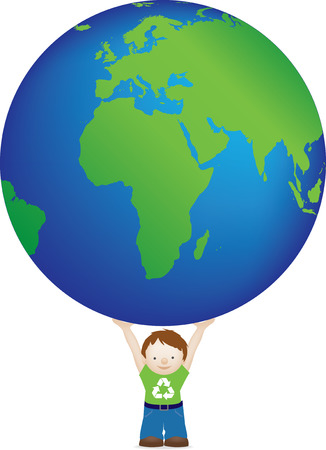 recycle symbol vector: Child wearing recycle symbol holding globe Illustration