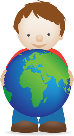 A young boy holding planet earth Vector