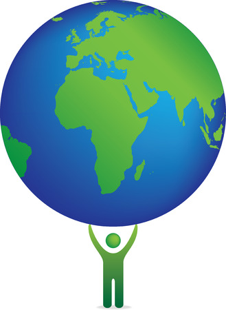 Isolated vector illustration of a single figure holding planet earth Vector