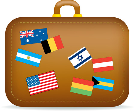Vector illustration of a brown suitcase covered in travel stickers, flags. Vector