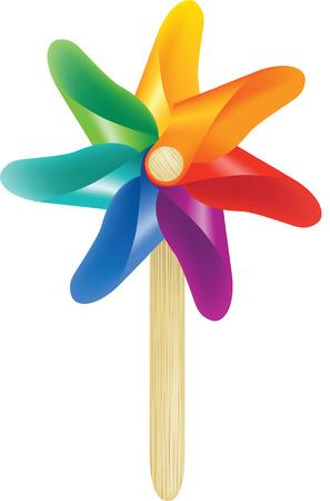 wind wheel: Illustrazione vettoriale di un mulino a vento giocattolo colorato