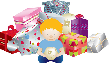 detailed vector of a blittle boy with a pile of gifts Vector