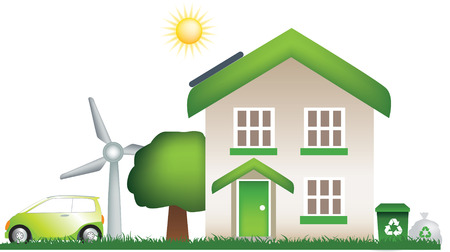 detailed vector of a modern eco, earth friendly house Stock Vector - 4730477