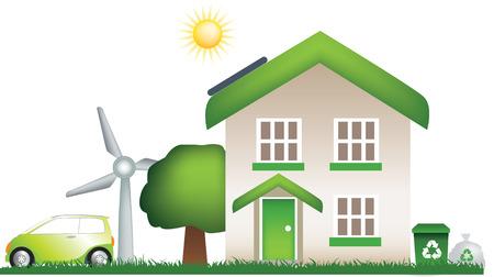 earth friendly: detallada de vectores de una moderna ecol�gica, tierra de amistad casa