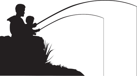togther: Vector illustration of a father and son fishing Illustration