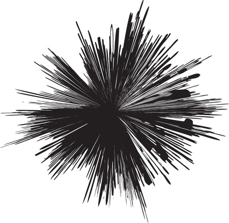 explode: detailed vector of a black and white line explosion