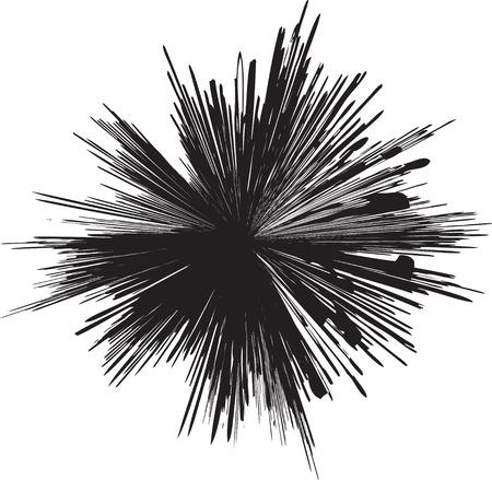 explosie: gedetailleerde vector van een explosie van de zwart-witte lijn