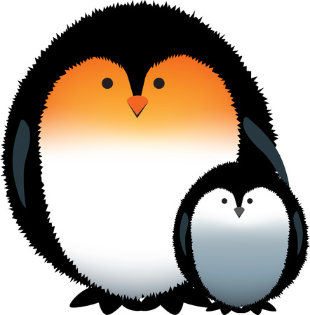 protective: mum and child penguin with protective wing Illustration