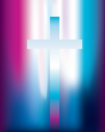 hope symbol of light: vector illustration of a christian cross with pink and violet light effect