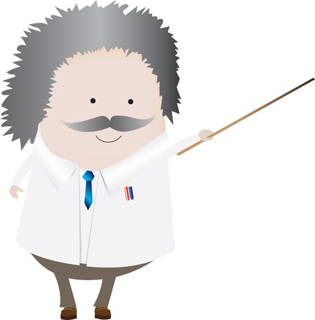 Vector illustration of a professor or scientist isolated